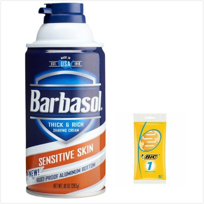 美國Barbasol芭芭索刮鬍泡--敏感肌(10oz)*3+刮鬍刀*1