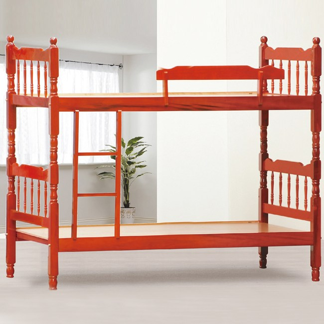 【YFS】費茲捷勒5尺紅木色雙層床-155x194x164cm