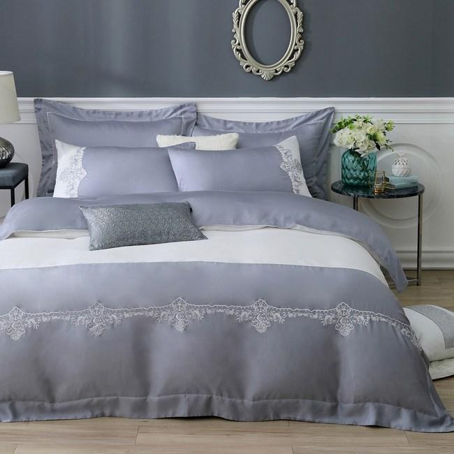 織眠家族 60天絲刺繡-費德里奧雙人六件式床包被套組