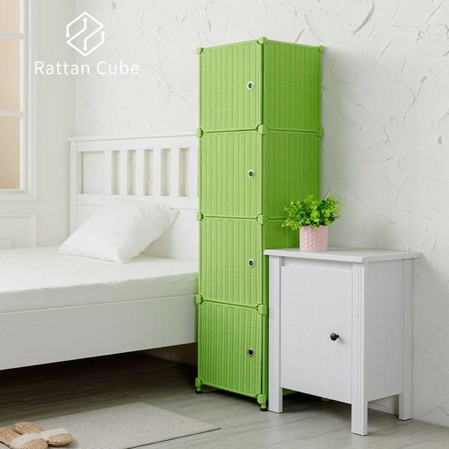 【藤立方】組合4格收納置物櫃(4門板+調整腳墊)-綠色-DIY