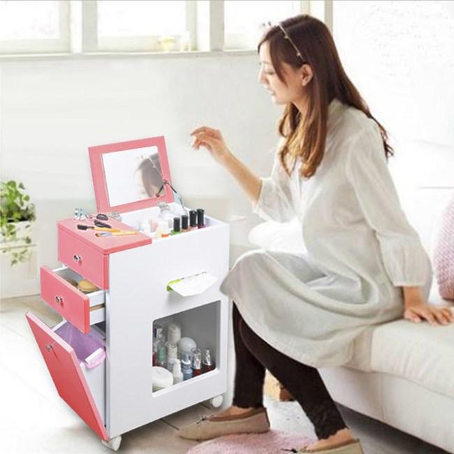 《C&B》雅子日式隙縫邊櫃化妝車-粉紅