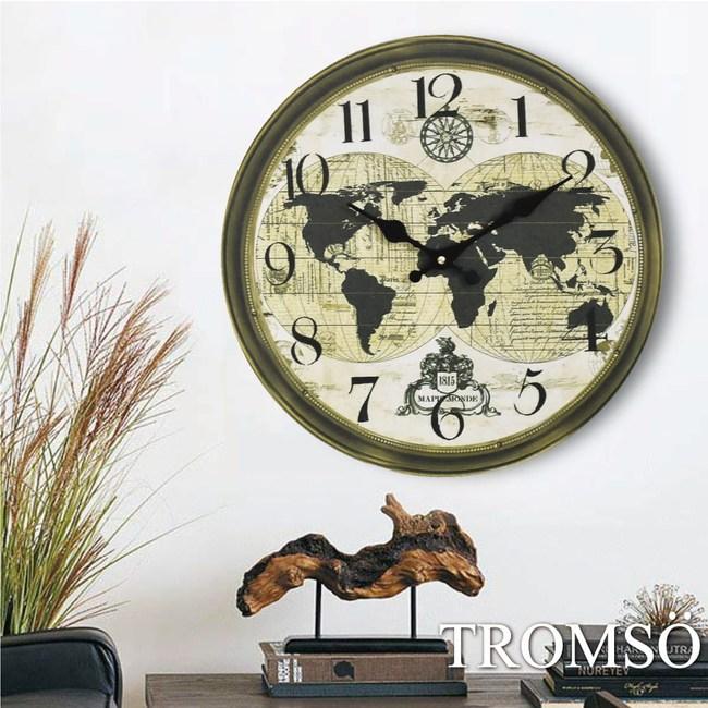 TROMSO無框畫時鐘-復古地圖(圓形)