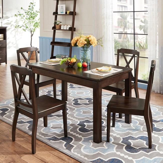 林氏木業美式鄉村實木餐桌 CZ1R+餐椅 CZ1S(一桌四椅)