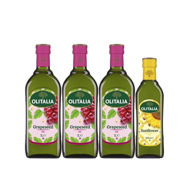 奧利塔寒冬暖心組(葡萄籽油1Lx3+頂級葵花油500ml)