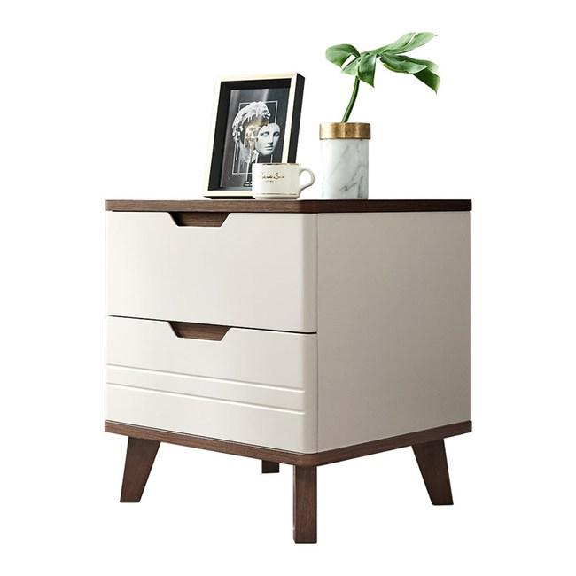 林氏木業北歐現代簡約雙抽床頭櫃 LS154-咖+白色