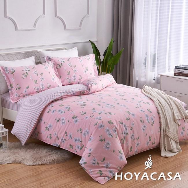【HOYACASA】花憶旅途雙人四件式純棉兩用被床包組(天絲入棉30%