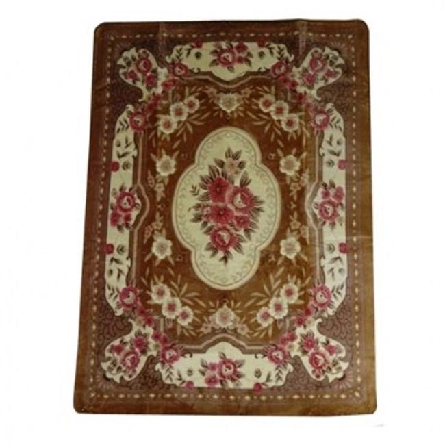 花開富貴絨毛折疊地毯160220棕