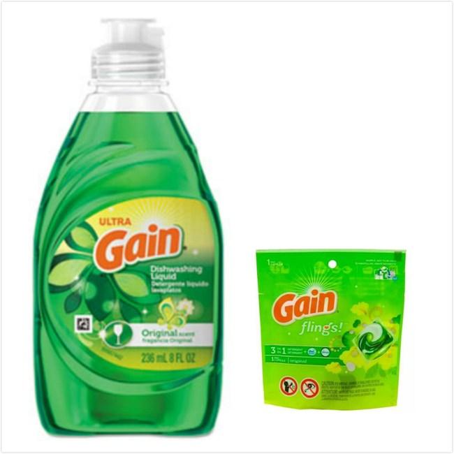 美國進口P&G Gain濃縮洗潔精(8oz)*6+洗衣凝球*6