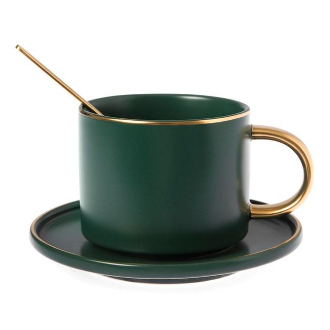 霧光描金杯碟組 不銹鋼匙附屬 墨綠色款