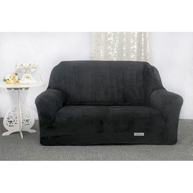 【Osun】厚棉絨溫暖柔順-2人座一體成型防蹣彈性沙發套黑色