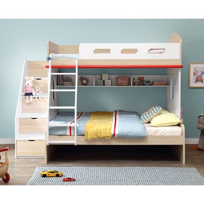 林氏木業創意兒童單人加大4尺雙層床EQ2A-A(含梯櫃,不含床墊及拖床)