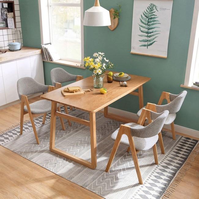 林氏木業北歐清新白橡木餐桌一桌四椅LS046-原木色
