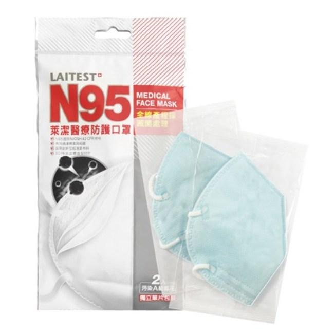 萊潔 N95醫療防護口罩2入/袋 藍色
