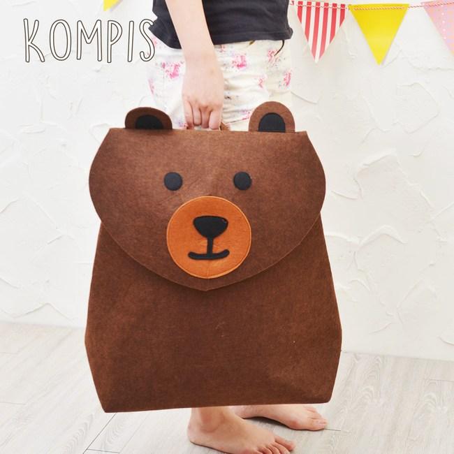 日本KOMPIS 北歐風可愛動物玩具收納箱-棕熊