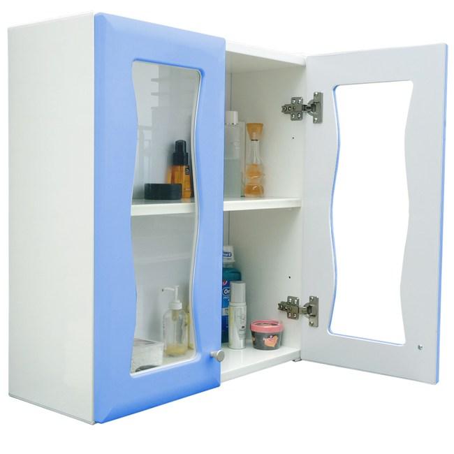 海灣雙門加深防水塑鋼浴櫃/置物櫃-2色可選 1入藍色