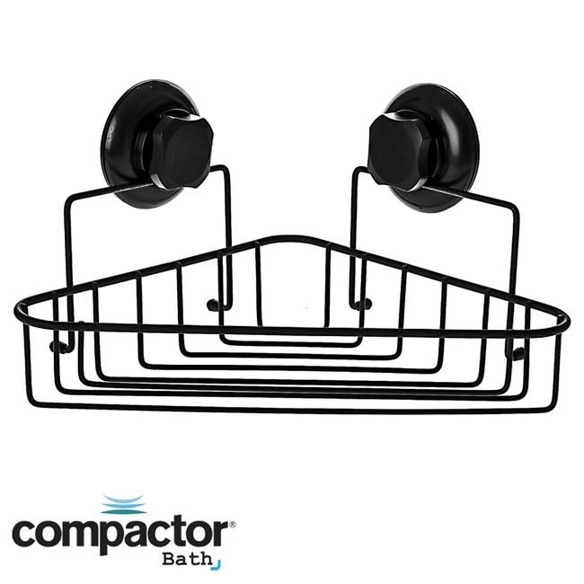 法國品牌 Compactor 吸盤霧黑轉角置物架 型號RAN9778