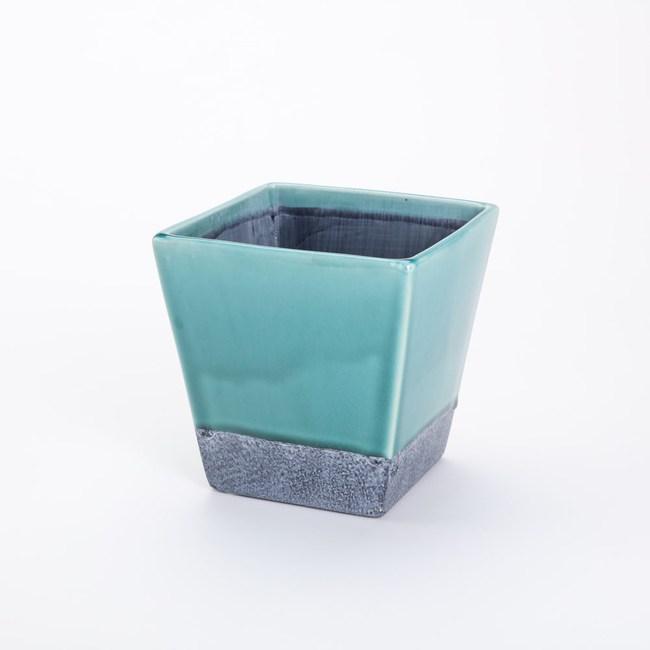 諾曼方形陶盆 綠