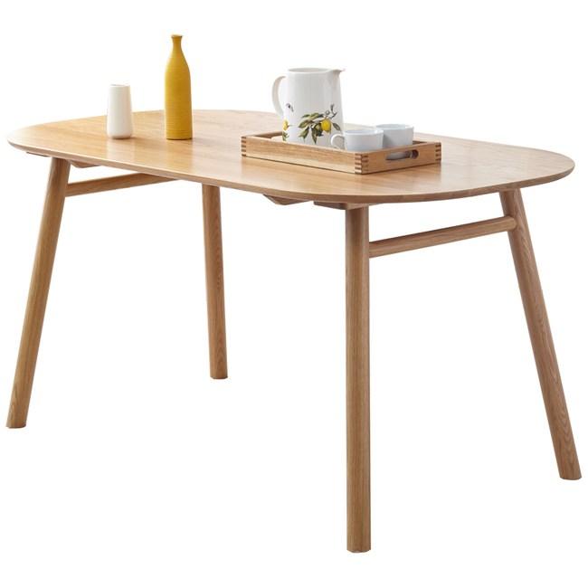 原木日式白橡木實木圓弧桌邊1.2M餐桌w0227