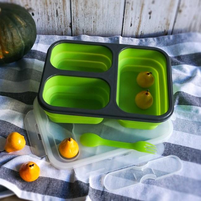 【Homely Zakka】伸縮收納矽膠分隔保鮮便當餐盒(綠色)