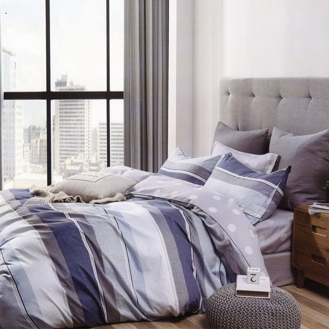 BUTTERFLY-純棉三件式枕套床包組-灰色軌跡(加大)