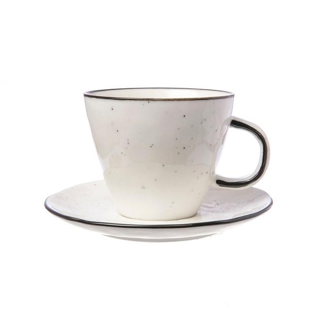 WAGA日式 墨灑釉燒  250ml 陶瓷杯碟組 │單品