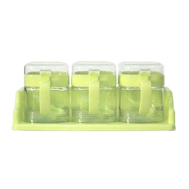 Artist 玻璃方型座式收納400ml調味罐3入組 粉綠色