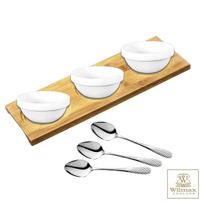 【英國 WILMAX】多用途竹製杯墊/置物盤/點心盤 附 醬料碟茶匙組