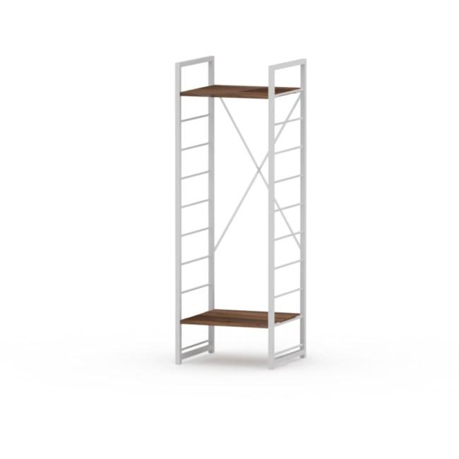 (組)特力屋萊特二層架白框/深木紋-40x40x128cm