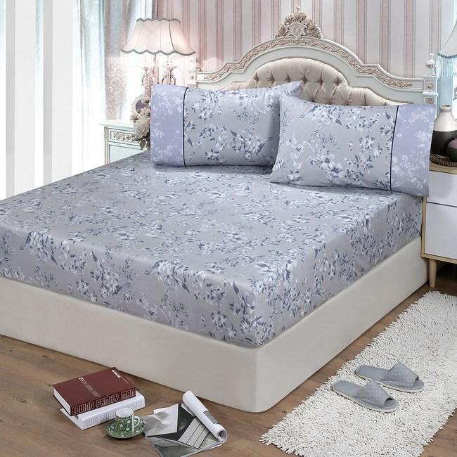 【FITNESS】精梳棉雙人床包+枕套三件組-莉蒂亞(灰)