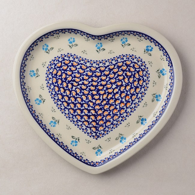 波蘭陶 青藍小花系列 愛心造型餐盤 波蘭手工製