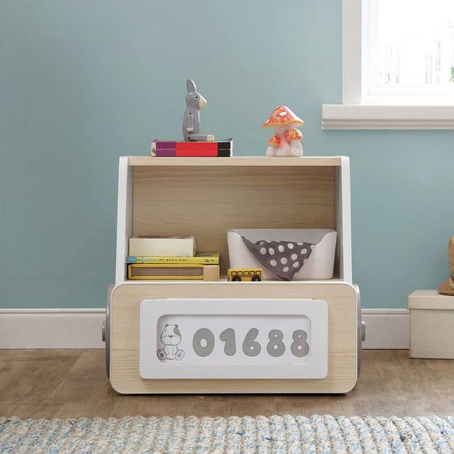 林氏木業創意卡通汽車兒童儲物床頭櫃EQ1B-A原木色+白色