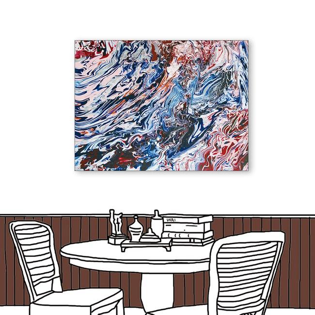 24mama掛畫 單聯式 藍紅 藝術抽象 油畫風無框畫 60X80cm