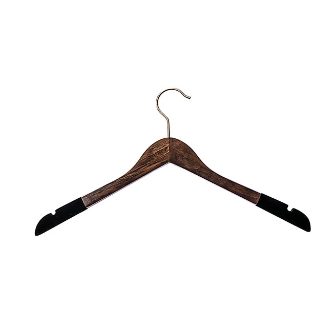 HOLA 豪華木製黑絨布防滑衣架44cm