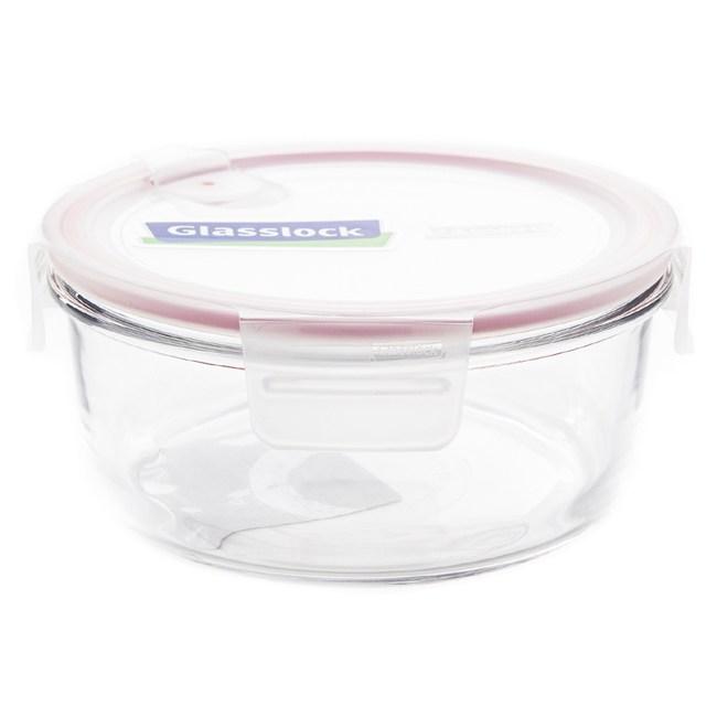 Glasslock 強化玻璃可微波氣孔上蓋保鮮盒 圓形 950ml