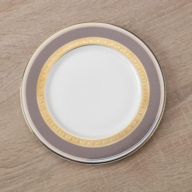 HOLA home 艾勒琴骨瓷平盤6吋 淺棕