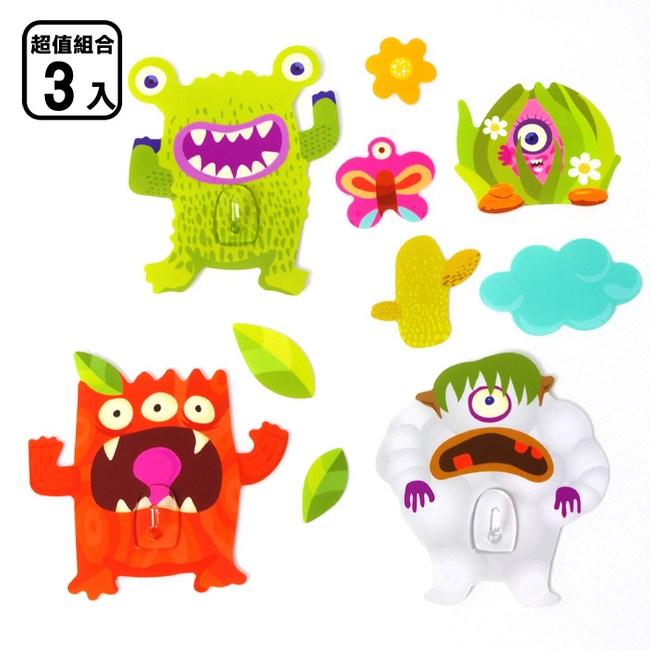 黏樂趣 NELO 卡通造形重複貼掛勾組_三入組森林怪獸
