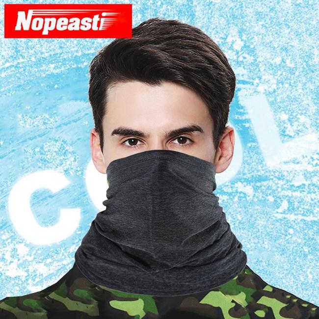 Nopeasti諾比 戶外騎車運動冰絲涼感防曬半面罩(麻黑)