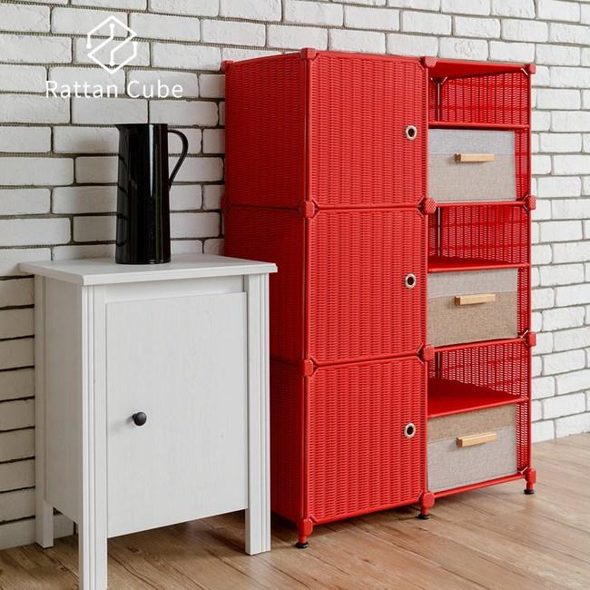 【藤立方】組合3層6格收納置物架(3門板+3置物盒+調整腳墊)-紅色-DIY