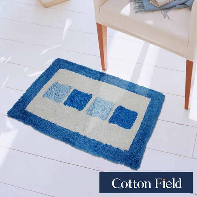 棉花田【格列】純棉提花踏墊-藍色(45x70cm)藍色