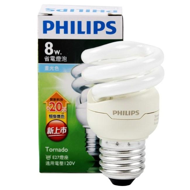 飛利浦 新一代 T2 省電燈泡 8W 白光 PHILIPS