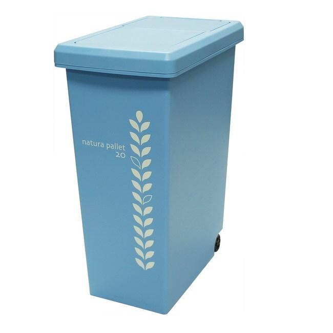 【this-this】滑蓋式垃圾桶 20L-水藍色