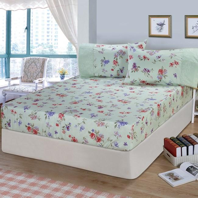 【FITNESS】精梳棉單人床包+枕套二件組-穠芳(綠)