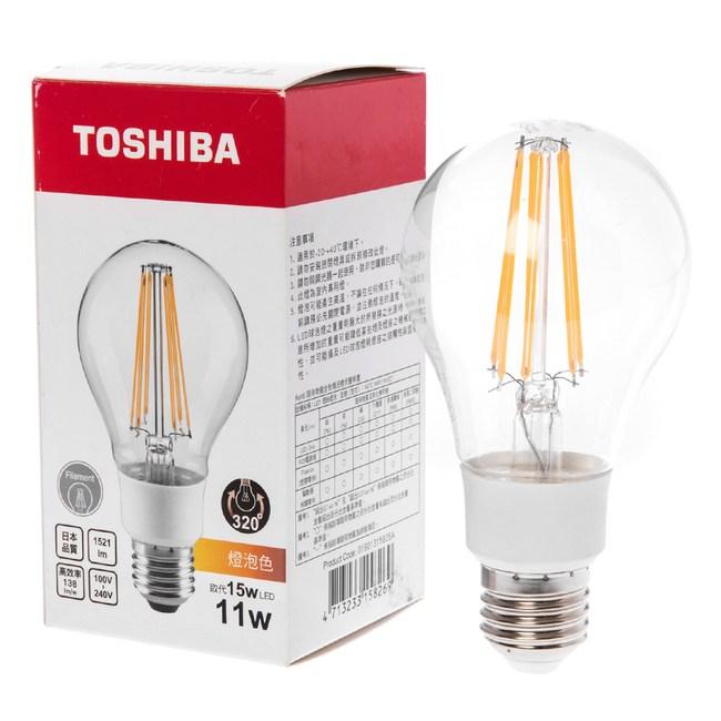 (組)Toshiba 11W LED球型燈絲燈泡 燈泡色-3顆