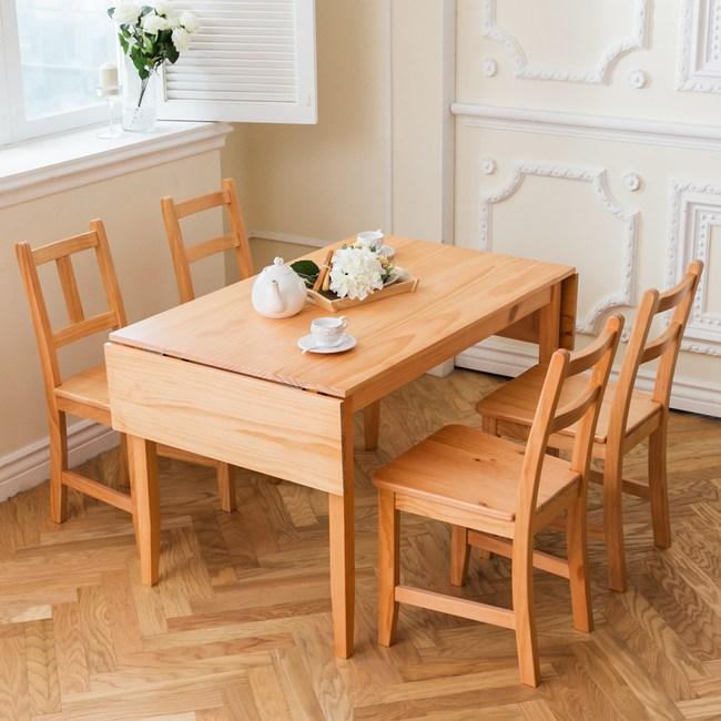 CiS 北歐原木桌椅組 74x166cm桌+4椅 (溫暖柚木色 三選一