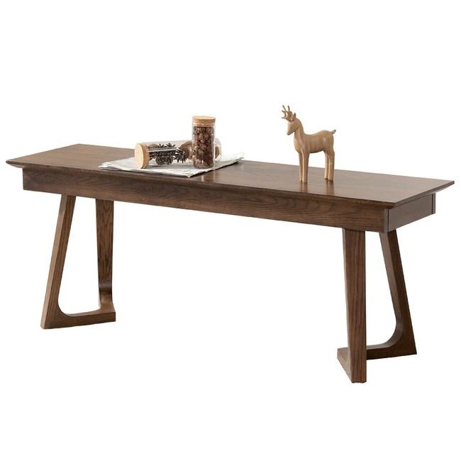 原木日式和風紅橡木實木1.25M長餐椅-胡桃色