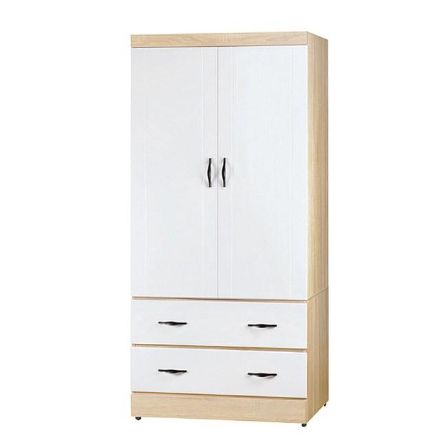 【YFS】巴爾克3尺原切白開門二抽衣櫃-83.5x57x182cm