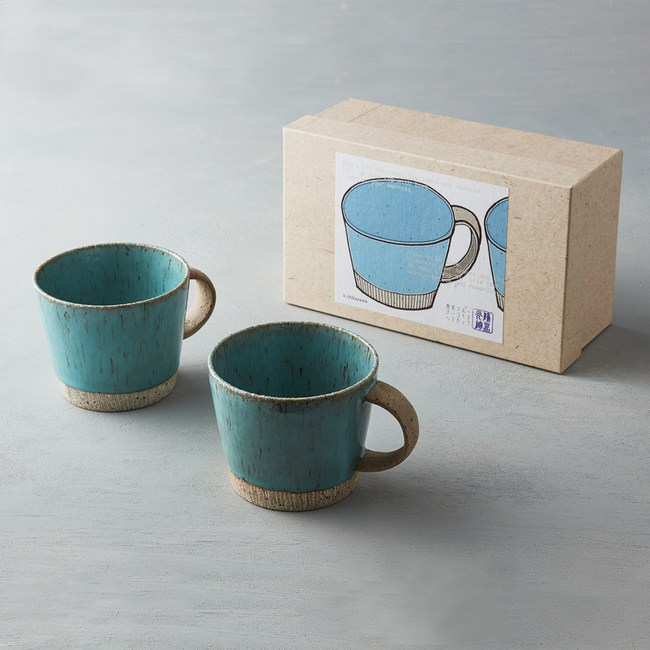 【有種創意】日本美濃燒 - 細刻紋馬克對杯禮盒組(2件式)