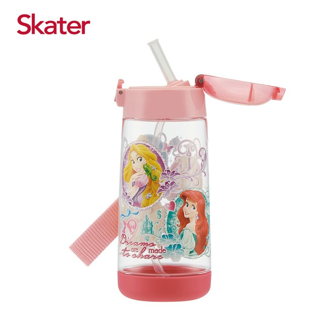 Skater PET吸管水壺(480ml)迪士尼公主-粉