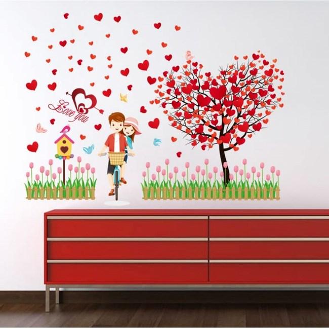 【Loviisa 愛心樹情侶】無痕壁貼 壁紙