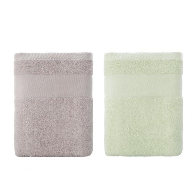 (組)美國棉浴巾70x140-藕灰x1+綠x1